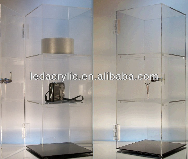 3 shelf mini acrylic display case tower with door lock and keys