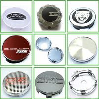 Custom ABS Plastic Chrome Silver Car logo Wheel Center Hub Caps Cover 4pc Set