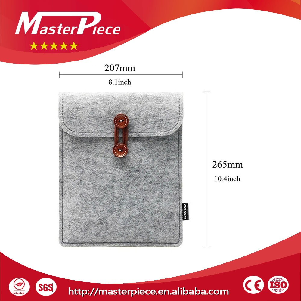 2016 hot test bulk sale needle felted England style pad cover felt 10.6 inch tablet case made in China