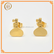 Fashionable Girls Accessories Gold Plated Unique Earrings Heart Shaped Key Design Stainless Steel Ear Studs For Wedding
