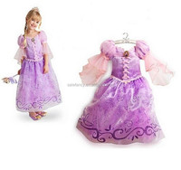 YIWU FANCY Long Hair Princess Rapunzel Girl Skirt Child Queen Party Costume QGD-2071