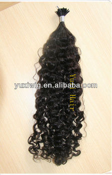 Hot sale i tip hair extensions kinky curly