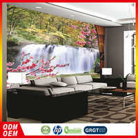 customized Inddoor decorative wall paper waterfall nature Landscape Design decorative wallpaper for interior home decoration