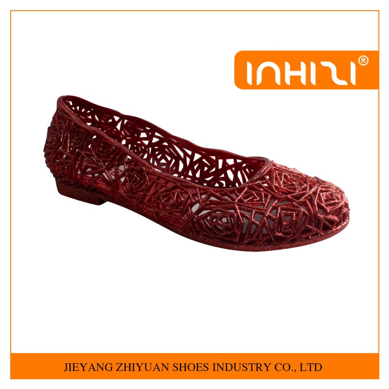 Best quality simple new design fashion ladies flat casual jelly shoes