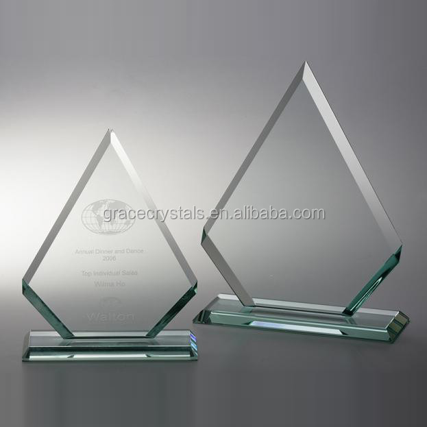 Clear cheap blank diamond glass trophy with stand