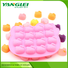 silicone 16 Hole cute pink cat cake mode