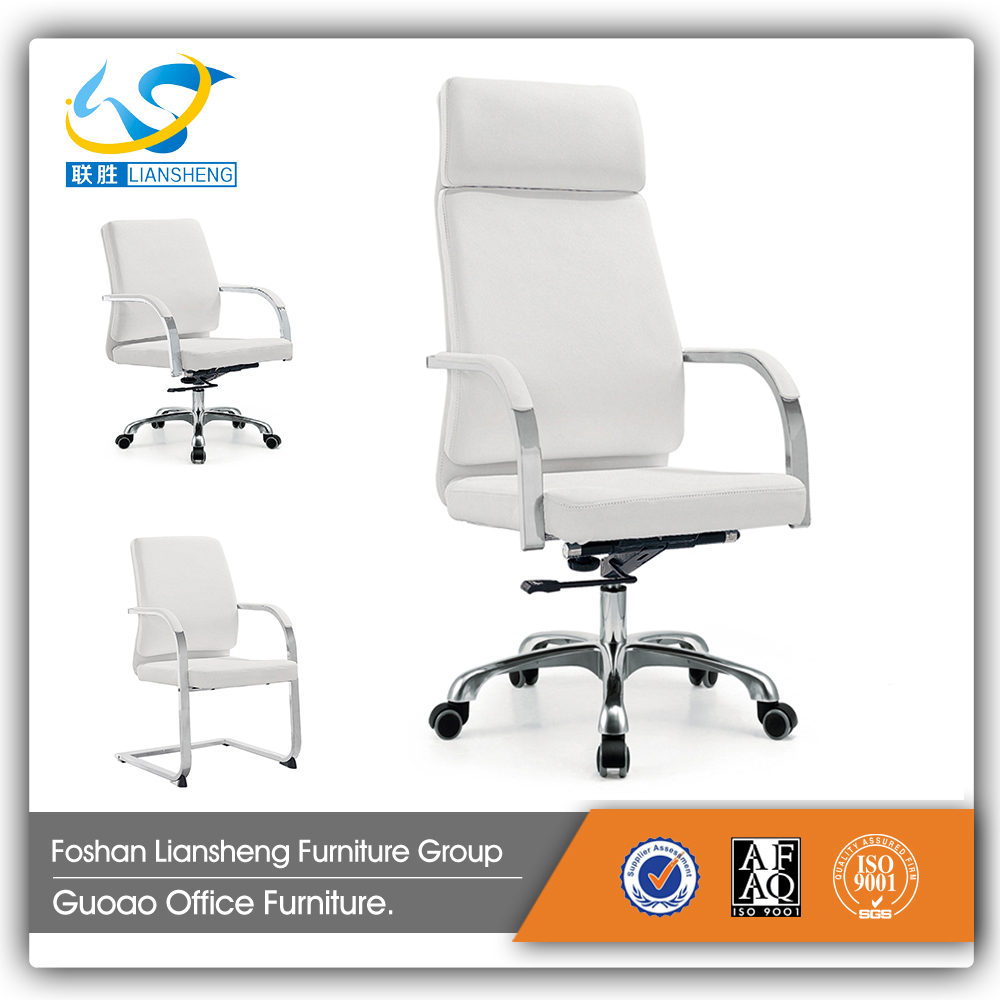 functional exective middle back white leather office chair GAC036B