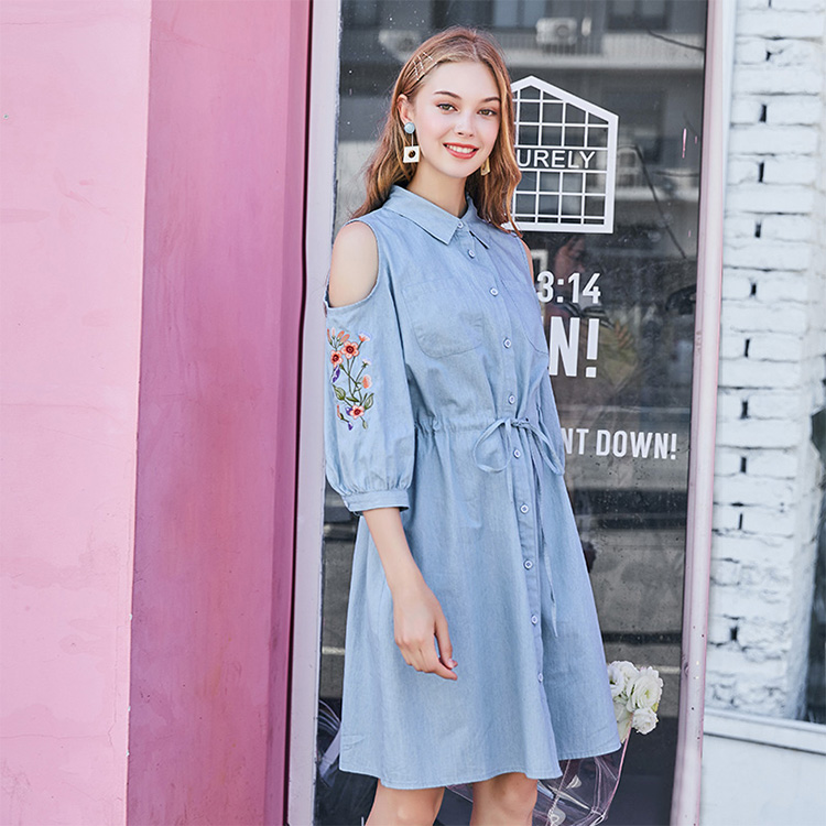 (18QL5508) new design women denim off shoulder dress clothing fashion girl daily dresses