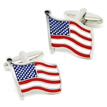 High quality custom enamel engraved logo USA American flag cufflinks