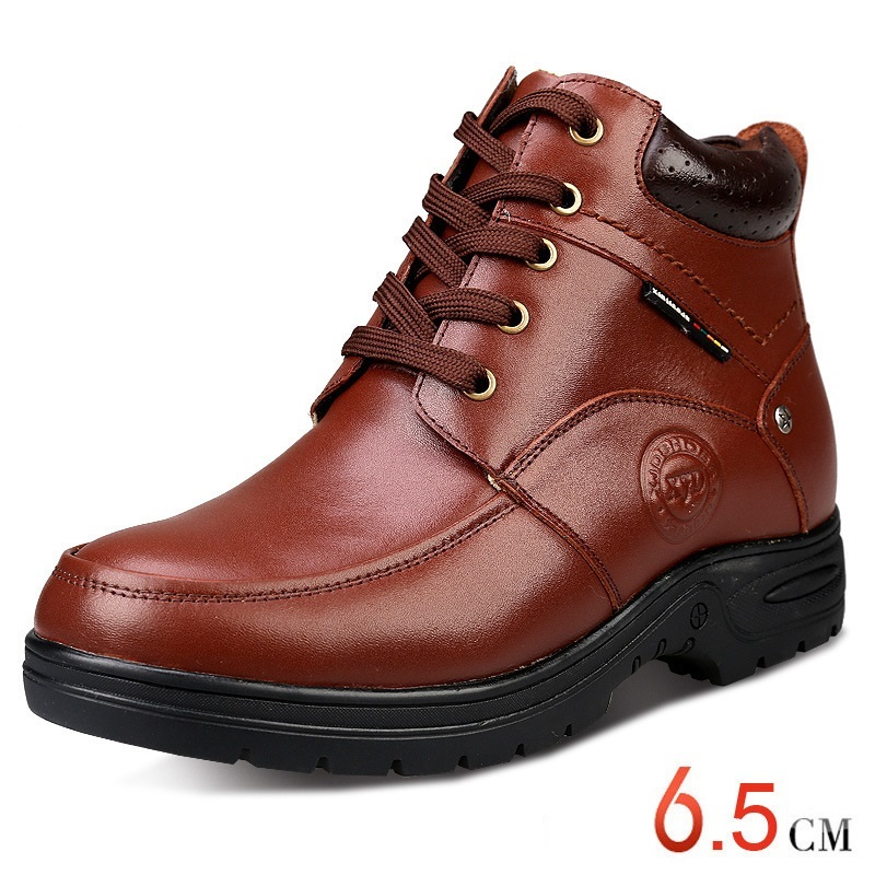Fashion Man Leather <strong>Boots</strong> Keep Warm Snow Winter <strong>Boots</strong> with Height Increasing Inserts for Men