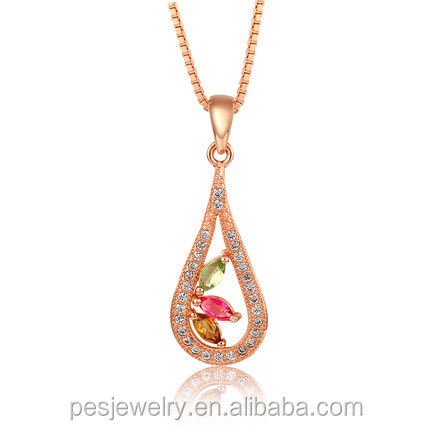 PES Fine Jewelry! Exquisite! Only Love Pave Diamond Teardrop Multi Color Tourmaline GEM Pendant Necklace (PES3-1298)
