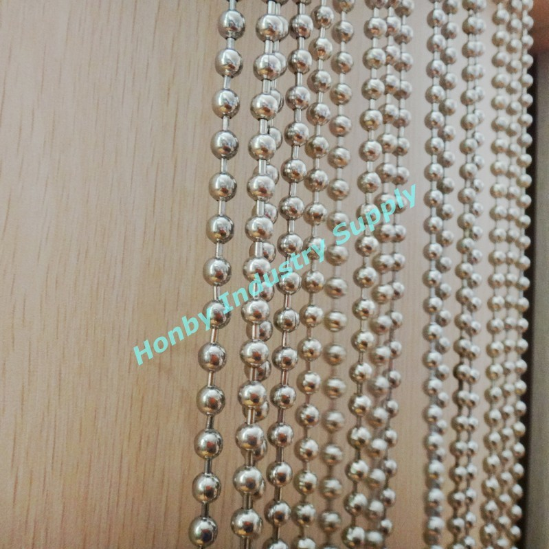 Round beaded silver shiny metallic curtain