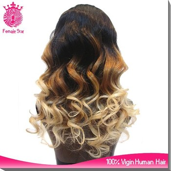 hot fashion peruvian hair u part wig ombre color tina turner human hair wig