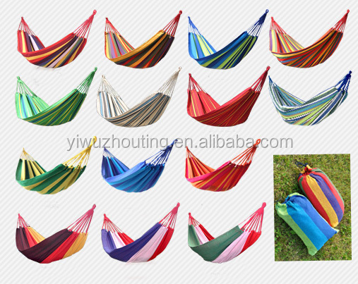 High Quality stripe design hammock swings outdoor double camping hammock