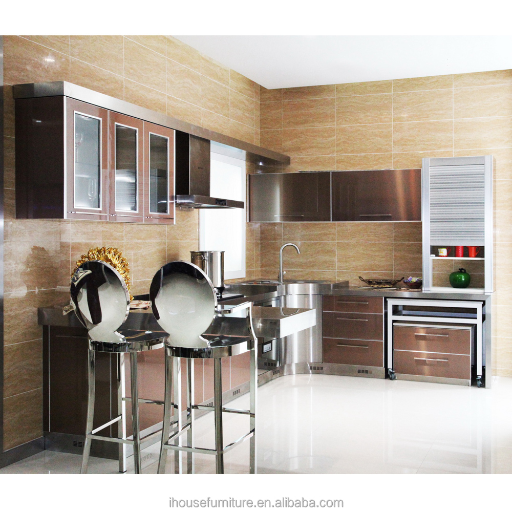 Fantastic Modern Aluminium Kitchen Cabinet/Fair Price Kitchen Cabinets/Glass Door For Kitchen