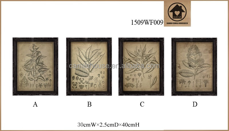 Distressed Personalised Plant Sketch Print Pictures on Glass