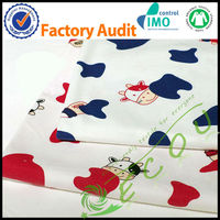 2016 GOTS certified fabric wholesale printed organic cotton fabric