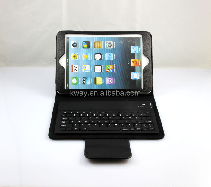 Leather Stand Case Cover With Wireles Bluetooth Keyboard For iPad Mini KKB036