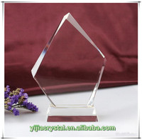 Blank Beveled Shield Crystal Plaque with Base;Beveling K9 Crystal Glass Block for Trophy Making;Clear Crystal Blank Award