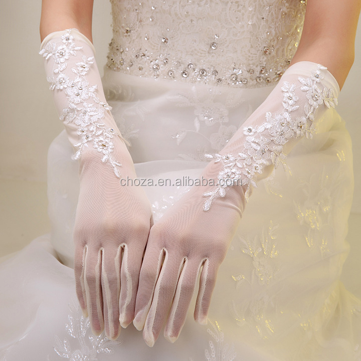 C72065A Wholesale Opera Length Tulle Wedding Gloves
