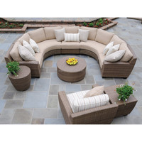 Elegant high quality outdoor ratan wicker garden furniture half round sectional sofa