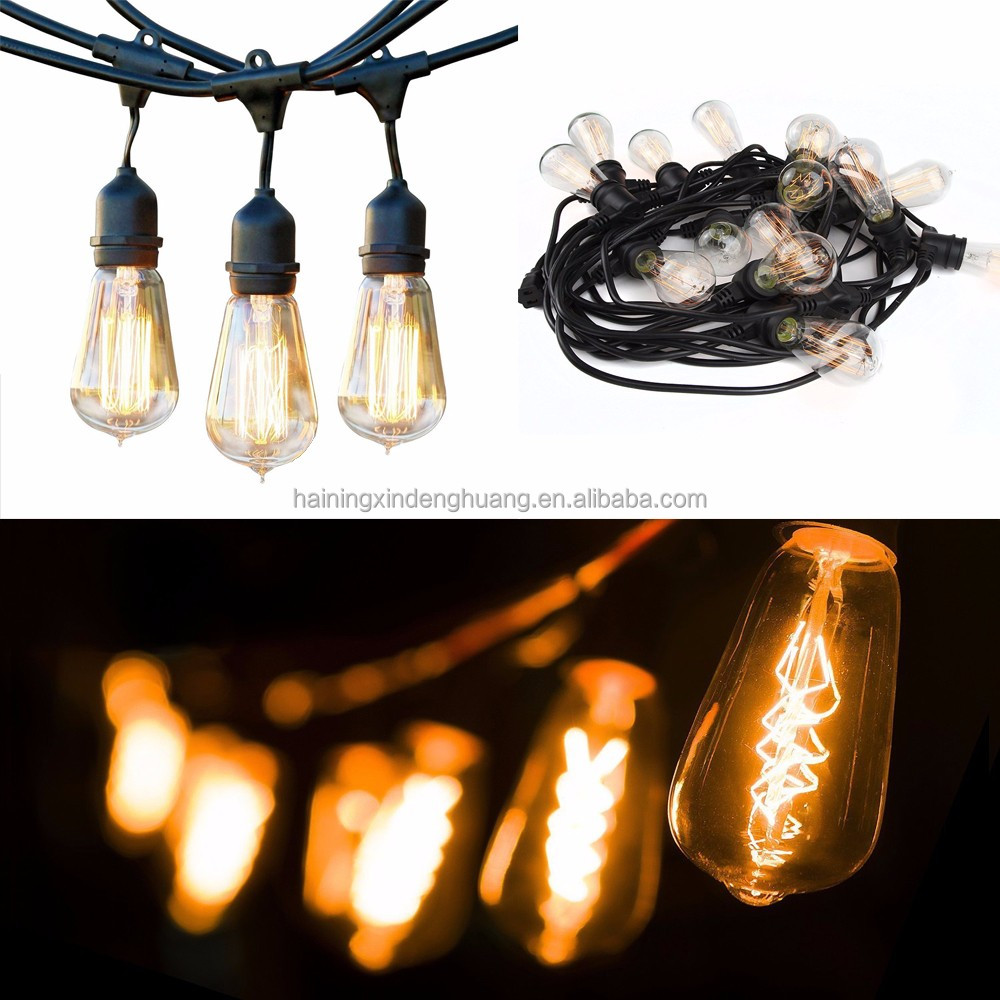 Decorative Outdoor edison bulb string lights s14 Christmas tungsten incandescent string bulb 48ft/20m