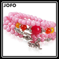 2015 New Arrival Ethnic Style Pink Beads Bracelet Elephant Fish Lucky Beads Bracelet Fashion Costume Jewelry