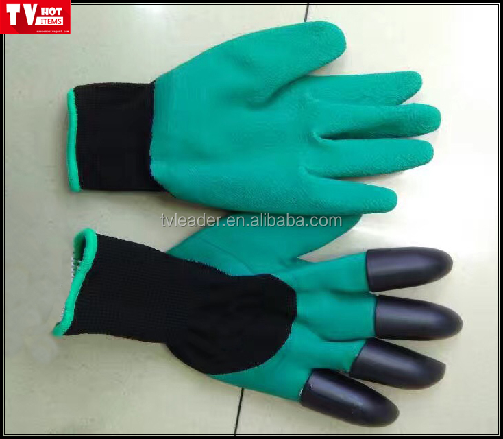 2016 newest garden digging, planting and raking gloves with built in claws Puncture Resistant gardening gloves