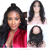 Malaysian Virgin Human Hair Body Wave Aroud Lace Frontals Easy to make for a Wig