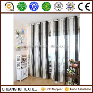 European-style black and white stripe Curtain Voile Window Curtains eyelet B