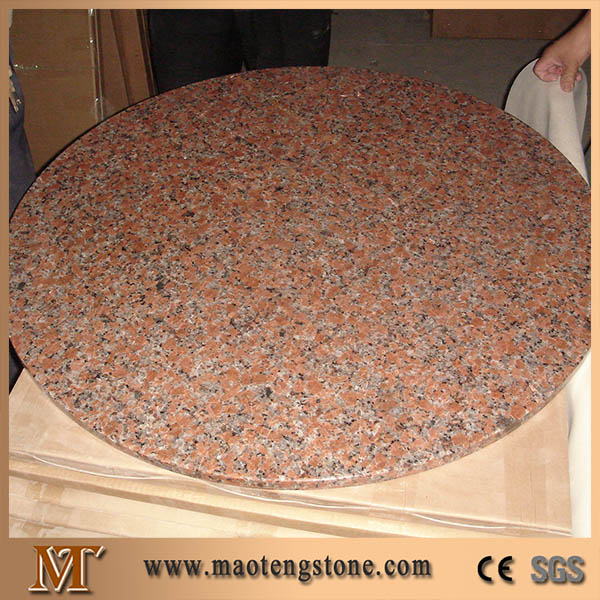G562 Maple Red China Stone Round Desk Tops Polished Granite Table
