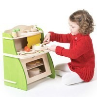 Mini wooden pretend play kitchen set toy for kids