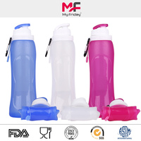 Portable unique cheap colorful collapsible silicone smoothie juice bottle
