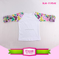 Butterfly Printed 3/4 Sleeve Kids Girls Ruffle Raglan Shirts 2017 Wholesale Floral Icing Raglan Shirt Boutique Cotton T Shirt