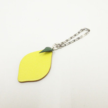 Charm Key Ring Keychain Lemon Motif Yellow Leather RFID Card Access for Door/Bus/Payment
