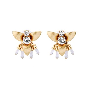 AP38055 New products 2019 fashion gold bee stud earrings with zircon