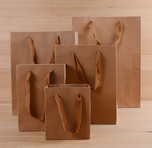 Promotional Eco eco friendly paper bag recycle ribbon tie large gift bags