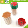 Bamboo toothpicks in Flowers bottle for barbecue party