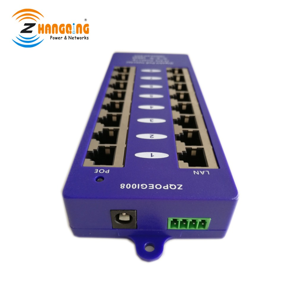 Passive Power Over Ethernet Gigabit PoE Injector 8 Port PoE Panel 24V For MikroTik, 48V For IP Camera