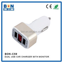 Car Healthy Doctor Monitor LED 5V 3.4A Dual Ports Micro USB Car Charger