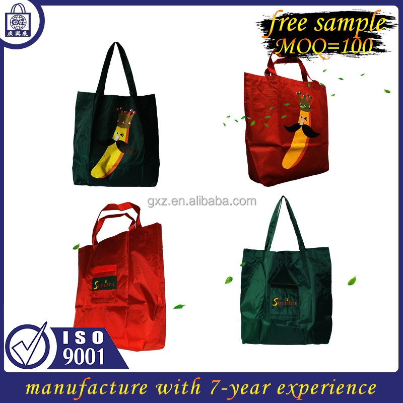 China Wholesale Free Sample OEM ECO Reusable Nylon Promotion Tote Bag Shopping Bag