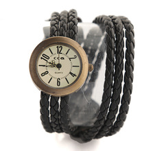 2017 Fashion Women Leather Watches Men Ladies Dress Female Wrap Quartz Braided Bracelet Watches Gift