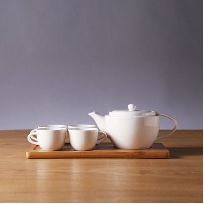 Round Ceramic Tea Set with Simple Wooden Tray for Home Accessories Tableware
