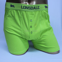 Fashion neon color boxer briefs front open long leg boxers cotton boxer short