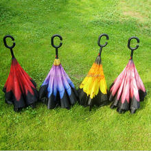 New Fashion C Car's Reverse Umbrella / Double Layer Hands Free Inverted Reverse Umbrella / Reverse Umbrella C with handle