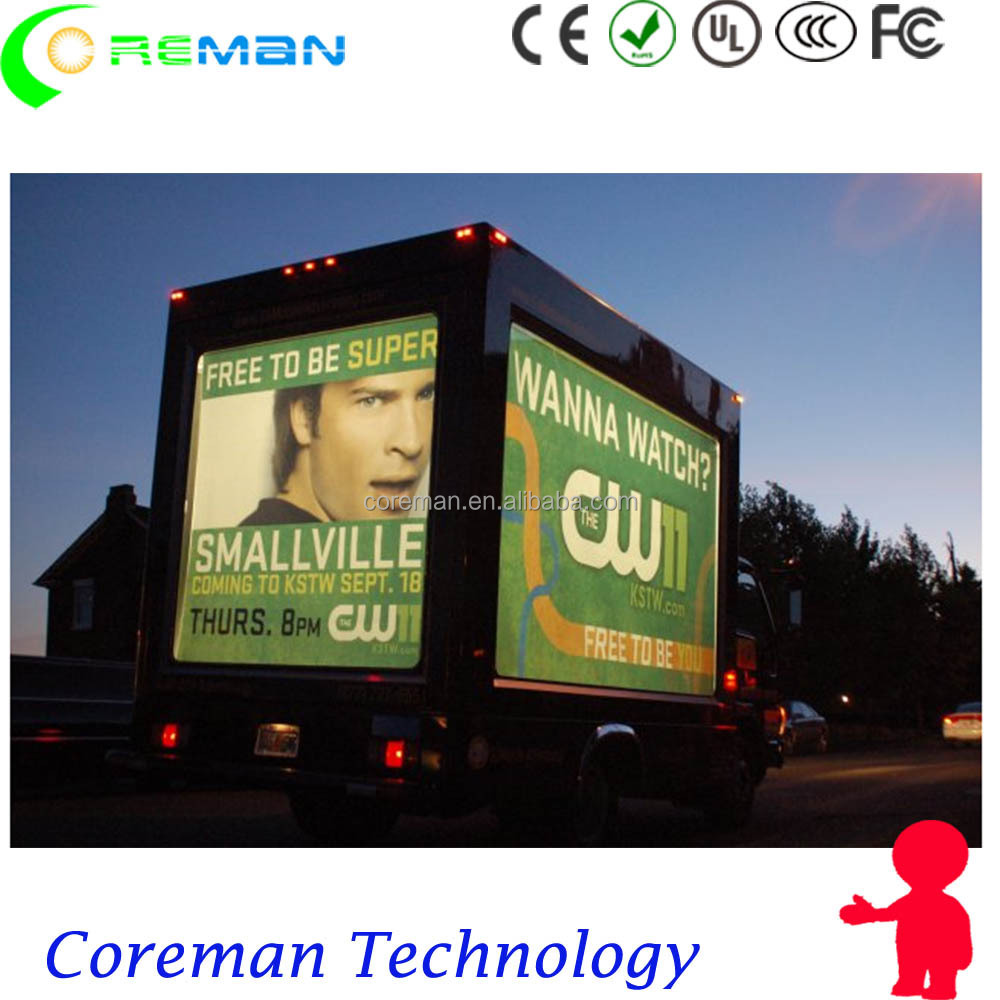NEW Used p10 three sided led mobile advertising trucks for sale / outdoor flexible led truck mounted signs curtain p12