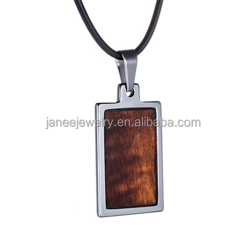 Wholesale Hawaiian Burl Wood Jewelry Mens Tungsten Steel Rectangle Wooden Pendant Necklace