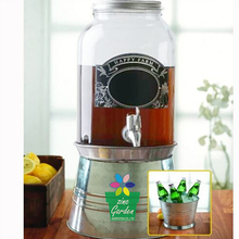 Glass Jar mason beverage drink dispenser with metal ice bucket stand-1Gallon-galvanized steel tap
