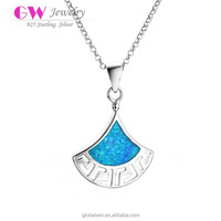 925 Sterling Silver Blue Opal Natural Stone Fan Necklace Best Friend Necklace