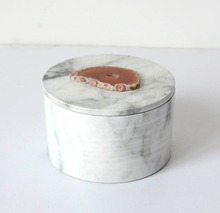 Upscale Marble Collection Jewelry Trinket Box With Agate